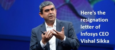Here's The Resignation Letter of Infosys CEO Vishal Sikka